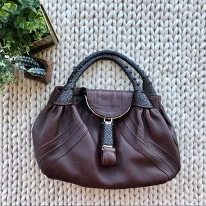 Fendi Nappa Leather Spy Bag in Brown
